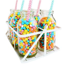 Glass School Milk Bottles in Crate - 10cm