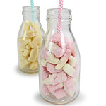 Glass School Milk Bottles - Sweet Jars