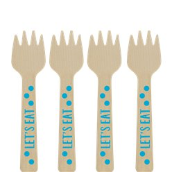 Blue Mini Wooden Fork - 10.6cm