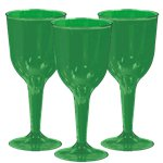 Green Plastic Wine Glasses - 295ml