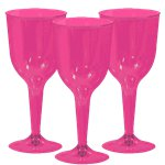 Hot Pink Plastic Wine Glasses - 295ml