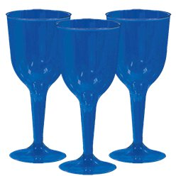 Royal Blue Plastic Wine Glasses - 295ml