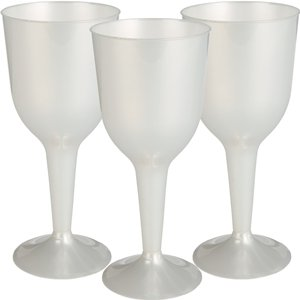 Pearl White Plastic Wine Glasses - 295ml