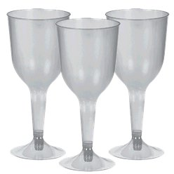 Silver Plastic Wine Glasses - 295ml