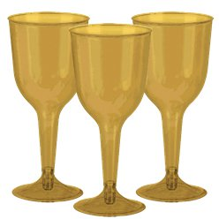 Gold Plastic Wine Glasses - 295ml