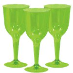 Lime Green Plastic Wine Glasses - 295ml