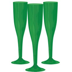 Green Plastic Champagne Glasses - 162ml