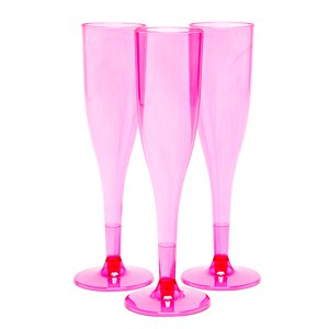 Hot Pink Plastic Champagne Flutes - 162ml