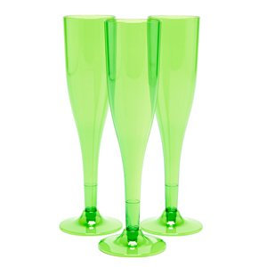 Lime Green Plastic Champagne Flutes - 162ml