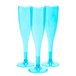 Turquoise Plastic Champagne Flutes - 162ml