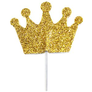 Crown Gold Glitter Cake Topper - 3.5cm