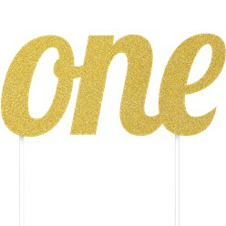 Age One Gold Glitter Cake Topper - 15cm