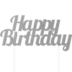 Happy Birthday Silver Glitter Cake Topper - 17cm