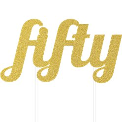 Age Fifty Gold Glitter Cake Topper - 14.5cm