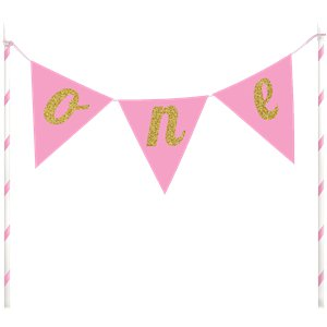 Age One Pink Glitter Cake Bunting - 23cm