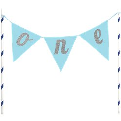 Age One Blue Glitter Cake Bunting - 23cm