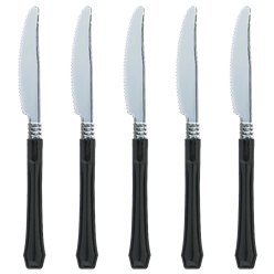 Black Premium Reuseable Plastic Knives