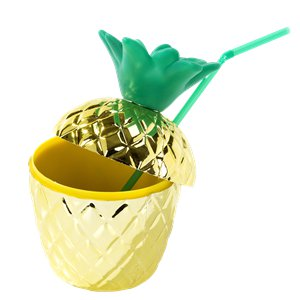 Golden Pineapple Tumbler Cup with Straw - 14.5cm