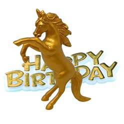 Unicorn Gold Happy Birthday Cake Topper - 8cm