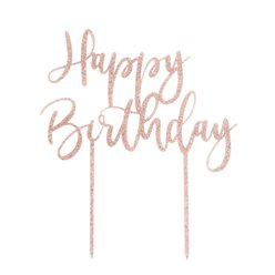 Rose Gold Happy Birthday Glitter Cake Topper