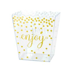 Metallic Gold Polka Dots Plastic Scalloped Container - 15cm