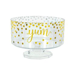 Metallic Gold Polka Dots Plastic Trifle Container - 18cm