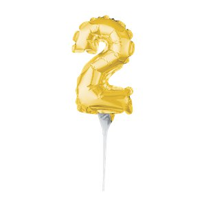 Air-Filled Gold Balloon Number 2 Cake Topper - 15cm