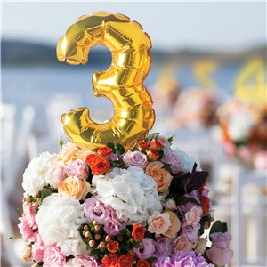 Air-Filled Gold Balloon Number 3 Cake Topper - 15cm