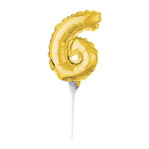 Air-Filled Gold Balloon Number 6 Cake Topper - 15cm