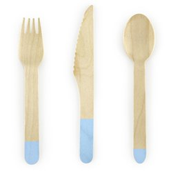 Light Blue Wooden Cutlery - Assorted Party Pack