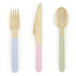 Pastel Mix Wooden Cutlery - Assorted Party Pack