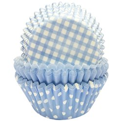 Light Blue Patterned Cupcake Cases