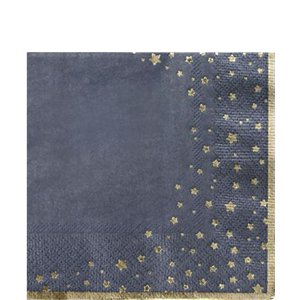 Gold Star Navy Cocktail Napkins - 25cm