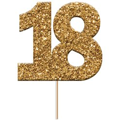 18th Birthday Gold Glitter Cupcake Topper