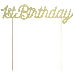 Gold 1st Birthday Cake Topper