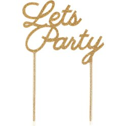Let's Party Gold Glitter Cake Topper - 22cm