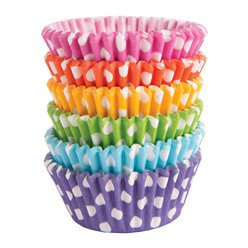 Bright Rainbow Polka Dot Cupcake Cases - 5cm