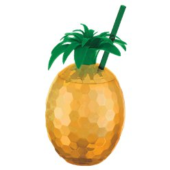 Hawaiian Gold Pineapple Cup with Straw