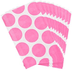 New Pink Polka Dot Paper Sweet Bags - 17cm