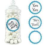 Caribbean Blue Candy Buffet Sweet Labels - 5cm