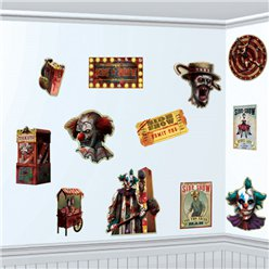 Scary Clown Halloween Side Show Cutouts - 28cm
