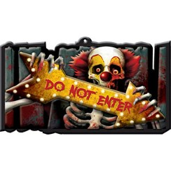 Scary Clown 'Do Not Enter' Plastic Sign - 44cm