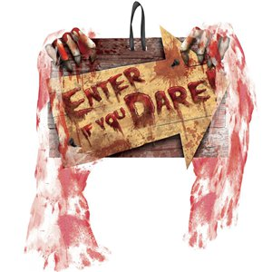 Scary Clown Halloween 'Enter If You Dare' Sign - 29cm