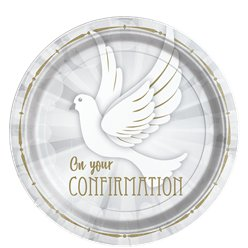 Confirmation Dove Paper Plates - 23cm