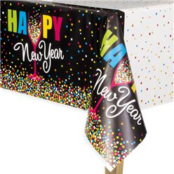 Confetti New Year Plastic Tablecover -1.3m x 2.1m