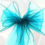 Turquoise Organza Chair Sashes - 3m