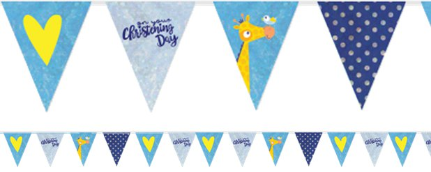 Christening Day Blue Holographic Foil Bunting - 4m