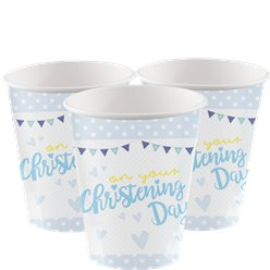 Christening Day Blue Cups - 266ml Paper Party Cups