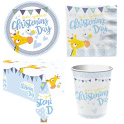 Christening Day Blue Party Pack - Value Pack For 8
