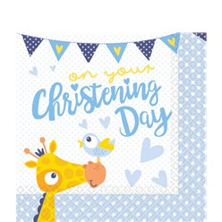 Christening Day Blue Paper Napkins - 33cm
